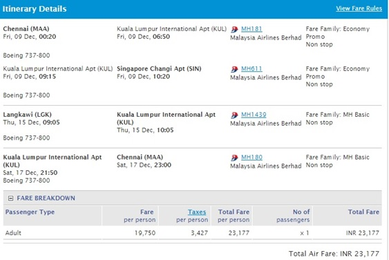 Malaysia Airlines E Ticket
